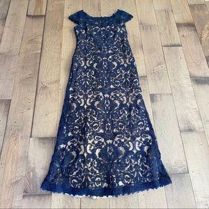 Tadashi Shoji Adena Corded Embroidery Gown Dress